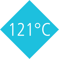 Products that can be autoclaved at 121 °C (2 bar) according to DIN EN 285. Note restrictions!